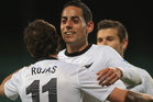Leo Bertos of New Zealand congratulates Marco Rojas on his goal during the FIFA World Cup Qualifier match between the New Zealand All Whites and Solomon Islands. Photo / Getty Images.