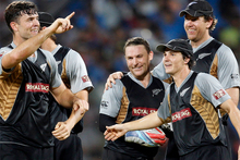 New Zealand cricketers celebrate after winning the Twenty20 international cricket match against India in Chennai, India, Photo / AP
