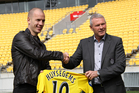 New Wellington Phoenix signing Stein Huysegems with coach Ricki Herbert. Photo / Guy Smith / Yellow Fever.