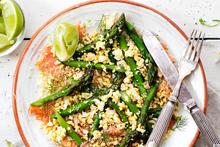Asparagus, salmon carpaccio, egg and anchovy crumbs. Photo / Babiche Martens