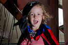 Pirate Zoe Gadd (3) shows what she's made of on Rena at the Auckland Maritime Museum. Photo / Sarah Ivey