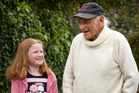 Ten-year-old Sophie McMillan talks to 98-year-old Harry Bioletti about what they think it means to be a New Zealander. Photo / Greg Bowker