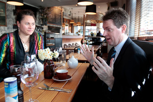 Labour MP Louisa Wall and Conservative leader Colin Craig dicuss the marriage amendment bill. Photo / Michael Craig