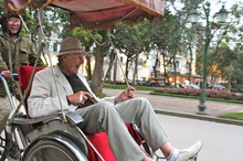 Paul Jeffries revels in the sights of the Old Quarter, Hanoi, in a cyclo. Photo / Jane Jeffries