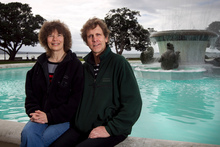Richard and Jeanette at Mission Bay fountain. Photo / Natalie Slade