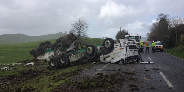 The scene of a crash involving a milk tanker near Cambridge in the Waikato today. Photo /  Christine Cornege