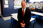 Labour leader David Shearer announcing his party's new education policy, which would include a free daily meal to children in low decile schools. Photo / Dean Purcell.