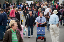 Visitors do a slow shuffle around the ASB Showgrounds.  Photo / Greg Bowker