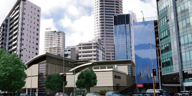Artist's impression of how the new substation will look once it is finished. This is the view from Fanshawe St, looking up towards Hobson St in Auckland CBD. Photo / Vector