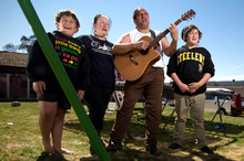 The Cotter family, (from left) Raniera, 9, Trish, Isaac and Ihaka, 13, say New Zealand is home.  Photo / Andrew Campbell