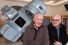 Waikato Hospital oncologist Cristian Hartopeanu (right) oversaw Roy's radiation therapy using one of the hospital's $5m radiation therapy machines. Photo / Stephen Barker
