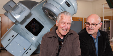 Waikato Hospital oncologist Cristian Hartopeanu (right) oversaw Roy's radiation therapy using one of the hospital's $5m radiation therapy machines. Photo / Stephen Barker