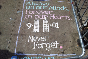 A commemorative message is chalked on to the pavement. Photo / Supplied