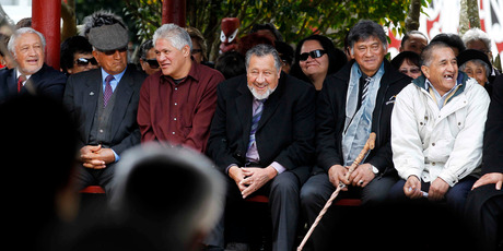 Maori Party co-leader Pita Sharples (centre) with other dignitaries including Joe Malcolm and Toby Curtis (far left) at Turangawaewae Marae in Ngaruawahia. Photo / Christine Cornege
