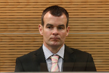 Ewen Macdonald in the dock while being sentenced to five years imprisonment. Photo / Mark Mitchell