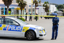 Police cordon at the car park of the Kapiti Lights Complex where Sean Strongman-Lintern, 20, died after a fight. Photo / Mark Coote