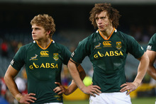 Pat Lambie and Zane Kirchner lament the Perth loss.  Photo / Getty Images