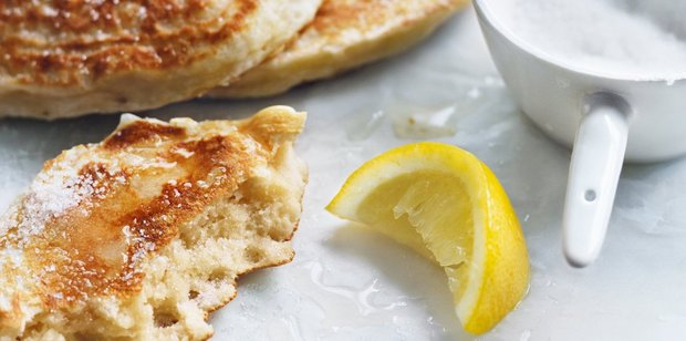 Ricotta pancakes with lemon and sugar. Photo / Chris Court