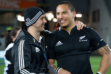 Darryl Sabin with Hosea Gear. Darryl is the All Blacks' official 23rd man. Photo / Sarah Ivey