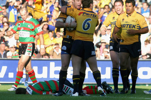 Rabbitohs player Todd Polglase lies unconscious during 2005 match against the Eels. Players must now undergo specific cognitive tests before playing on. Photo / Getty Images
