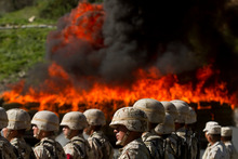 Soldiers stand in formation as a pile of marijuana burns in Tijuana. The Government's commitment to the war on drugs is undermined by corruption. Photo / AP