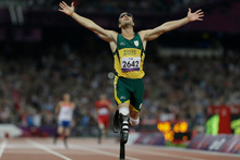 South Africa's Oscar Pistorius wins gold in the men's 400-meter T44 final at the 2012 Paralympics. Photo / Kirsty Wigglesworth