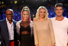 X Factor judges L.A. Reid, Demi Lovato, Britney Spears and Simon Cowell. Photo / AP