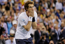Andy Murray reacts after beating Novak Djokovic yesterday. Photo / AP