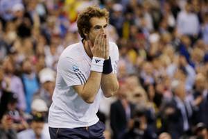 Tennis player Andy Murray reacts after beating Serbia's Novak Djokovic. Photo / AP