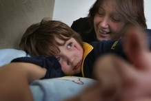 Alex Spice, who has autism, and his dedicated mother, Heather Spice. Photo / John Borren