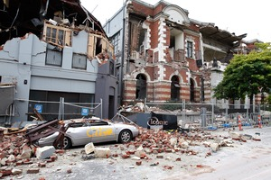 Destroyed buildings in the CBD after the second big earthquake.  Photo / Brett Phibbs