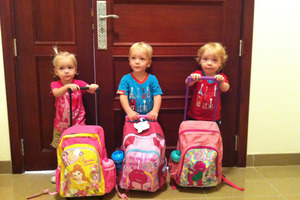 L-R: Lillie, Jackson, Willsher Weekes. The triplets died in a fire at the Villagio shopping Mall in Doha Qatar. Photo / Supplied