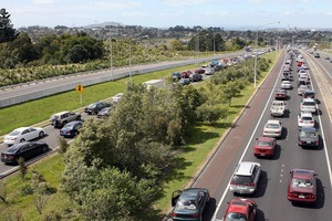 The south-bound lanes on the Northern Motorway packed with cars. Photo / File