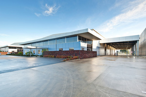 A modern warehouse facility at 132 Pavilion Drive in Auckland's Airpark precinct.