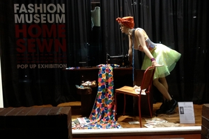 A display from the Home Sewn exhibition at the Fashion Museum.