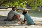Hugh Laurie and Xzannjah Joel in a scene from the movie, shot on Bougainville. Photo / Supplied