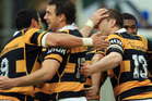 Taranaki players celebrate the try of James Marshall during the round seven ITM Cup match between Taranaki and Canterbury. Photo / Getty Images.