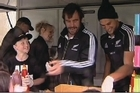 Scarfies were out in force to meet their All Black heroes in Dunedin before the Test match against the Springboks this weekend, Student eating games and races and a burger stand kept Andrew Hore and his team busy while sheltering from the inclement weather.