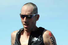 Bevan Docherty on his way to third place in the Ironman 70.3 World Championship in Las Vegas today. Photo / Finisherpix.com