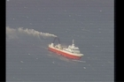 A fishing boat was evacuated today after it caught fire off the Canterbury coast. Video courtesy Royal New Zealand Air Force