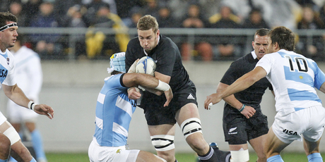 Luke Romano led the way for the All Blacks along with skipper Richie McCaw. Photo / Mark Mitchell