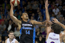 Mika Vukona top scored for the Breakers with 16 points. Photo / Brett Phibbs