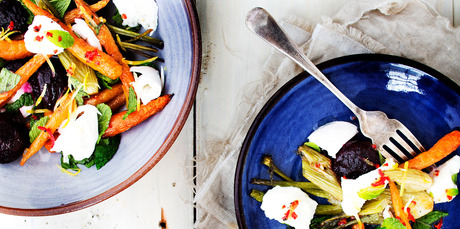 Baby vegetable salad with mint, mozzarella and chilli lemon oil. Photo / Babiche Martens