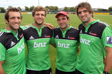 Adam, Luke, George, and Sam Whitelock all played for the Crusaders during the Super 15. Photo / Geoff Sloan