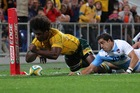 Radike Samo loses the ball during his side's Rugby Championship match against Argentina at Skilled Park. Photo / Getty Images
