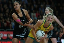 Maria Tutaia and Laura Getz compete for the ball during the Constellation Cup match at Vector Arena. Photo / Getty Images