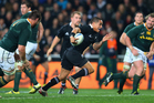 Aaron Smith of the All Blacks kicks ahead during the Rugby Championship match between the New Zealand All Blacks and South Africa. Photo / Getty Images.