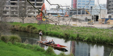 Cruising down the Avon river with the CBD rebuild underway in the background. Photo / Chris Barton