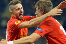 Liverpool's Sebastian Coates, right, celebrates his equalizer to 3:3 with teammate Fabio Borini during the UEFA Europa League Group A soccer match between BSC Young Boys and Liverpool. Photo / AP