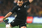 Aaron Cruden of the All Blacks kicks during the Rugby Championship match at Forsyth Barr Stadium. Photo / Phil Walter